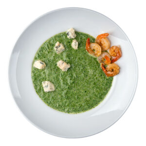 Шпінатний суп з ДорБлю та креветками